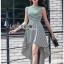 Chic Asymmetric Lady Ribbon Striped Dress thumbnail 3