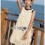 Dress เดรสแขนกุดผ้าลินินสีครีมปักพู่ thumbnail 3