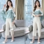เซ็ทเสื้อ+กางเกงเกาหลีเสื้อผ้าไหมซาติน thumbnail 1