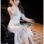 Maxi Dress เดรสยาวผ้าลูกไม้สีขาวทรงแขนยาว thumbnail 6