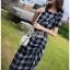 Dress เดรสพิมพ์ลายตารางสก็อตสีดำ thumbnail 3