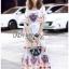 Dress เดรสผ้าเครปสีขาวพิมพ์ลายสีสดใส thumbnail 4