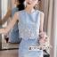 เซทลุคสาวเกาหลีสวยเก๋ดีเทลเสื้อเเขนกุดทรงครอป thumbnail 4