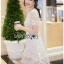 Embroidered Lady Ribbon White Lace Dress thumbnail 5