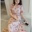 Lady Zoey Flower Printed Ruffle Zig-Zag Crepe Dress thumbnail 1