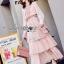 Lady Jill Printed Layered Pink Chiffon Dress thumbnail 4