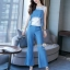 เสื้อพร้อมกางเกงสีขาวตัดฟ้า ทรงแขนกุด อกระบายติดกระดุมทอง thumbnail 3