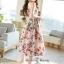 เดรส ผ้าสีครีมลายดอกกุหลาบสีชมพู thumbnail 4