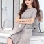 dress เดรสลูกไม้ทอลายสวย ทรงแขนสั้นชายกระโปรงระบายหวาน thumbnail 9