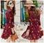 Lady Alora Spring Blossom Printed Ruffle Crepe Dress thumbnail 1