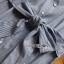 Grey Striped Lady Ribbon Shirt Dress thumbnail 5