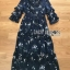 Lady Danielle Flower Printed Navy Blue Maxi Dress thumbnail 7