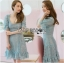 Vivid Blue Lace Dress เดรสสั้นผ้าลูกไม้สีฟ้าสด thumbnail 2