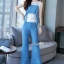 เสื้อพร้อมกางเกงสีขาวตัดฟ้า ทรงแขนกุด อกระบายติดกระดุมทอง thumbnail 4