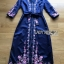 🎀 Lady Ribbon's Made 🎀 Lady Claire Modern Hippie Flower Embroidered Navy Crepe Long Dress thumbnail 7