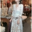 Lady Diana Pure Elegant White and Cream Lace Dress thumbnail 3