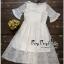 เดรสเกาหลีชุดสีขาวทรงคอกลมซีทรูช่วงอก thumbnail 5
