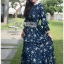 Navy Blue Chiffon Ruffle Maxi Dress thumbnail 3