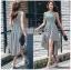Chic Asymmetric Lady Ribbon Striped Dress thumbnail 6