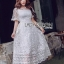 Lady Meredith Delicate Little Flower White Lace Dress thumbnail 1