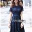 Lace Dress เดรสผ้าลูกไม้สีน้ำเงินเข้มทรงเบสิก thumbnail 4