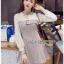 Mini Dress มินิเดรสผ้าลายสก็อตและผ้าชีฟองสีขาว thumbnail 4