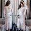 Maxi Dress เดรสยาวผ้าลูกไม้สีขาวทรงแขนยาว thumbnail 1