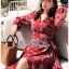 Lady Red Monica Floral Patterned Printed Wrap Dress thumbnail 2