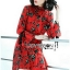 Lady Floral Printed Red Pleated Dress thumbnail 1