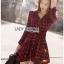 Red Tartan Ruffle Lady Ribbon Shirt Dress thumbnail 1