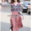 Lady Jane Red and Navy Printed Kimono Dress thumbnail 1