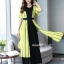 จั๊มสูทเกาหลีเสื้อคลุมนอกตัวยาว ผ้าสีเหลือง thumbnail 2