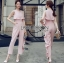 Lady Heidi Minimal Chic Ruffle Baby Pink Jumpsuit thumbnail 1