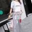 เสื้อขาวกางเกงลายริ้วชุดแฟชั่นลุคสาวเกาหลี thumbnail 4