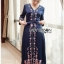 Lady Claire Modern Navy Crepe Long Dress thumbnail 1