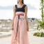 Lady Maddie Striped Ribbon Pleated Dress thumbnail 3