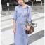 Grey Striped Lady Ribbon Shirt Dress thumbnail 1