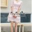 สีชมพูชุดเดรสเกาหลีแขนยาวคอวี thumbnail 3