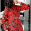 Lady Floral Printed Red Pleated Dress thumbnail 4