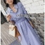 Grey Striped Lady Ribbon Shirt Dress thumbnail 3