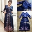 🎀 Lady Ribbon's Made 🎀 Lady Claire Modern Hippie Flower Embroidered Navy Crepe Long Dress thumbnail 4