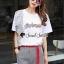 เสื้อขาวกางเกงลายริ้วชุดแฟชั่นลุคสาวเกาหลี thumbnail 2