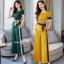 เซ็ทเสื้อ+ผ้าริบบิ้น+กางเกงงานเกาหลีผ้าสีพื้น thumbnail 1