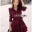 Red Tartan Ruffle Lady Ribbon Shirt Dress thumbnail 4