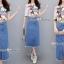 เสื้อ+กระโปรงยีนส์เกาหลีเสื้อผ้ายืดเนื้อดีนุ่ม เสื้อยืดแขนสั้น thumbnail 1