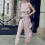 Lady Heidi Minimal Chic Ruffle Baby Pink Jumpsuit thumbnail 4