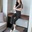 เซ็ทเสื้อ+กางเกงเกาหลีผ้าพิมพ์ลายจุดขาวดำ และลายริ้ว thumbnail 4