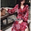 Lady Red Monica Floral Patterned Printed Wrap Dress thumbnail 3