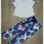 เซ็ทเสื้อ+กางเกงเกาหลีสีขาว thumbnail 3