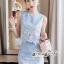 เซทลุคสาวเกาหลีสวยเก๋ดีเทลเสื้อเเขนกุดทรงครอป thumbnail 2